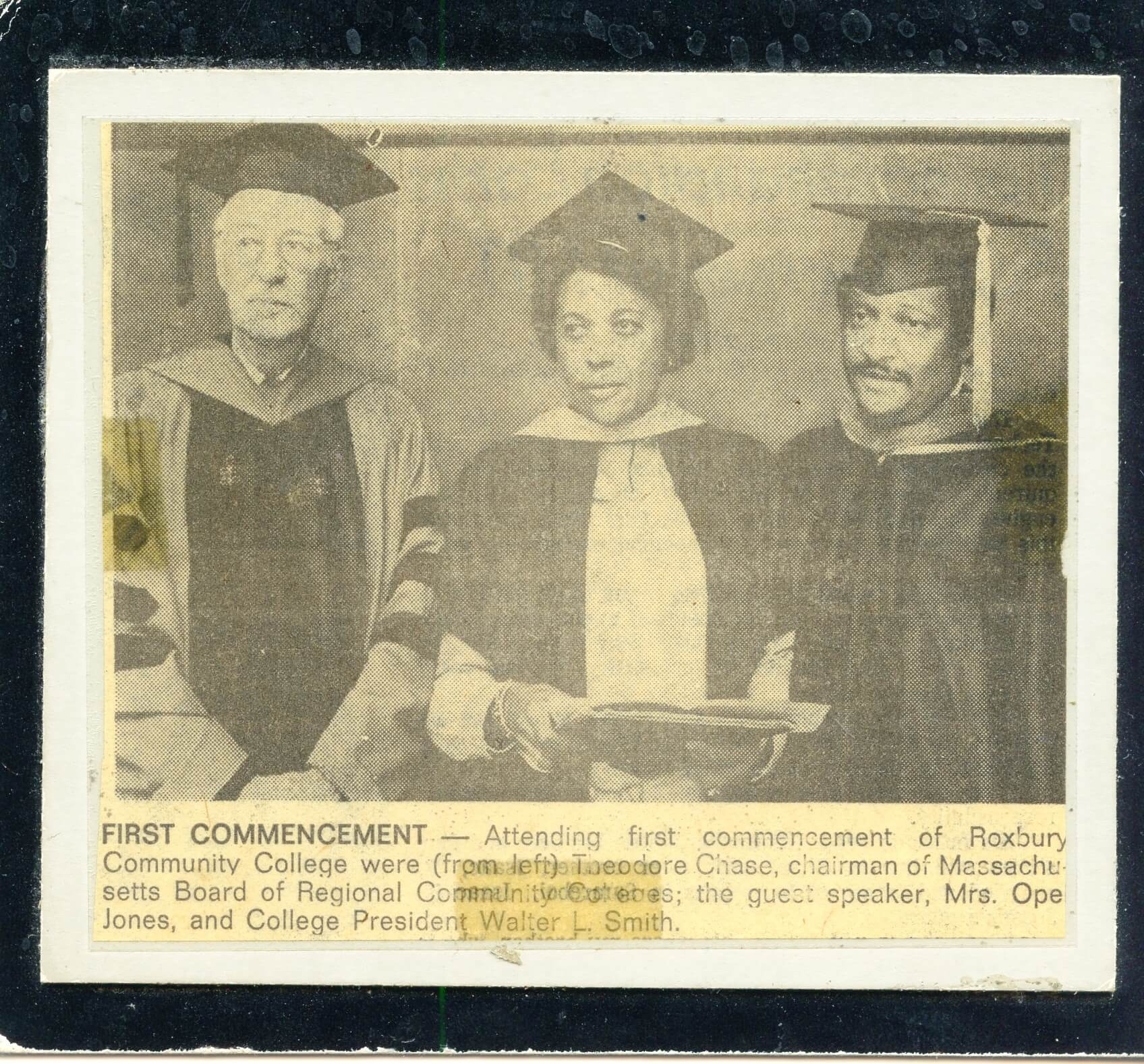ATTENDEES AT THE FIRST COMMENCEMENT, ROXBURY COMMUNITY COLLEGE; THEODORE CHASE, OPEL JONES, WALTER L. SMITH (1975)