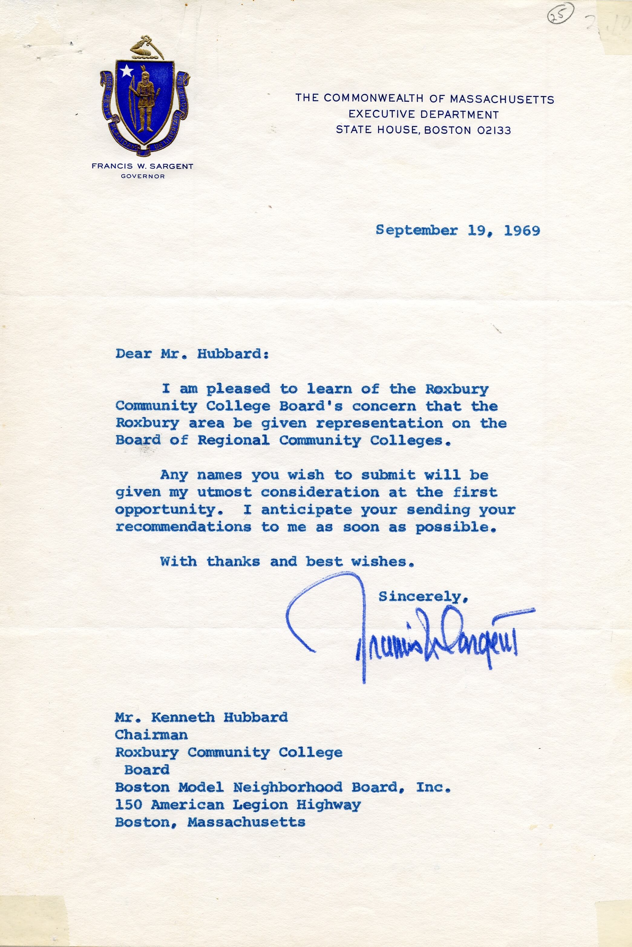 LETTER FROM MASSACHUSETTS GOVERNOR FRANCIS SARGENT