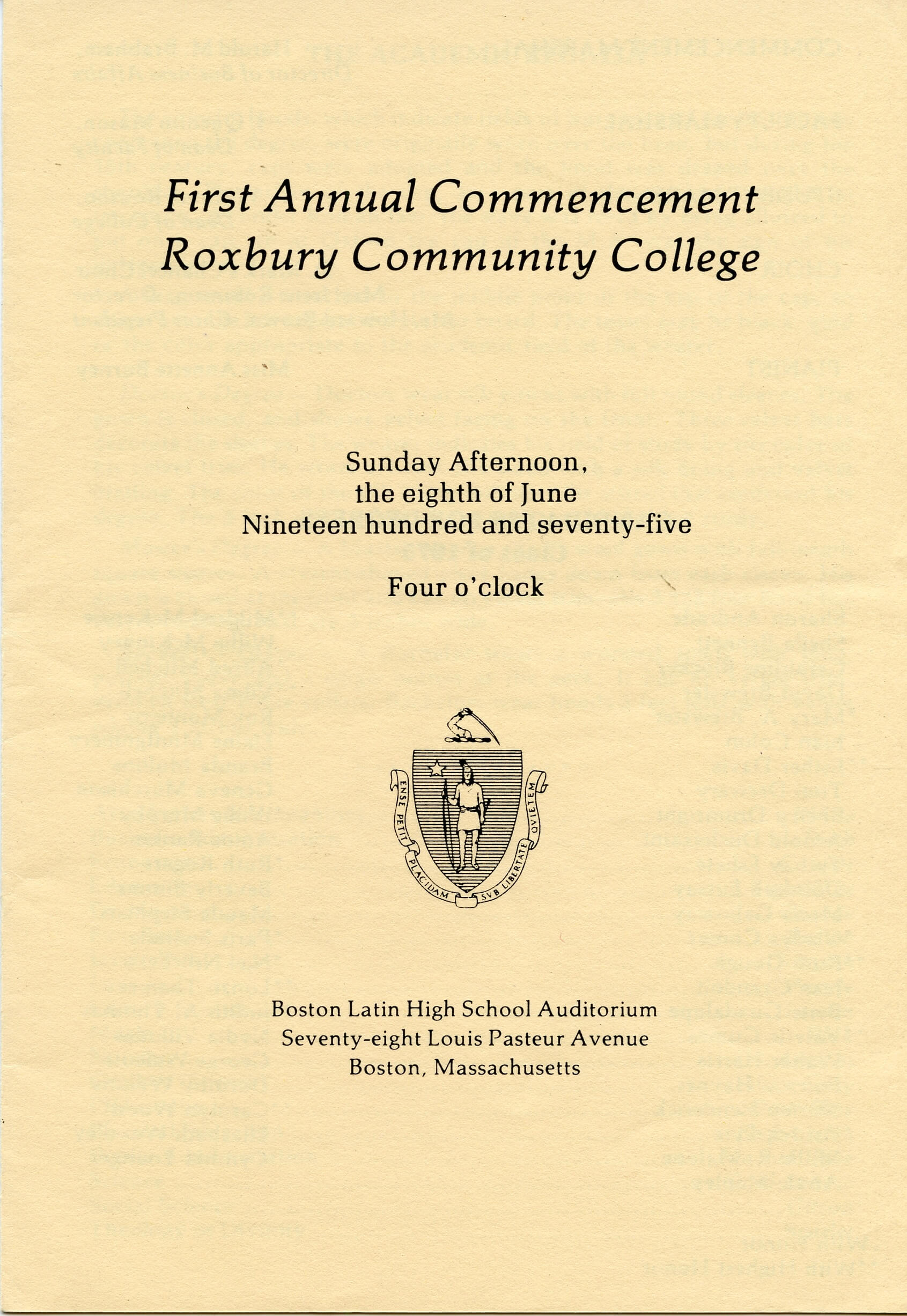 ROXBURY COMMUNITY COLLEGE, FIRST COMMENCEMENT (1975)