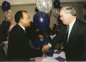 BOSTON MAYOR THOMAS MENINO AND JIM SCOTT AT THE RCC 25TH ANNIVERSARY GALA (1998)