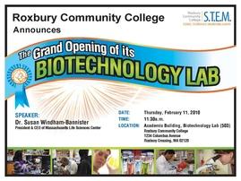 GRAND OPENING OF THE BIOTECHNOLOGY LABORATORY AT ROXBURY COMMUNITY COLLEGE (2010)
