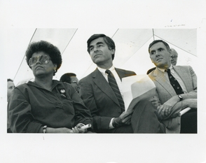 SAUNDRA GRAHAM, MICHAEL DUKAKIS, AND RAY FLYNN AT RCC GROUNDBREAKING (1985)